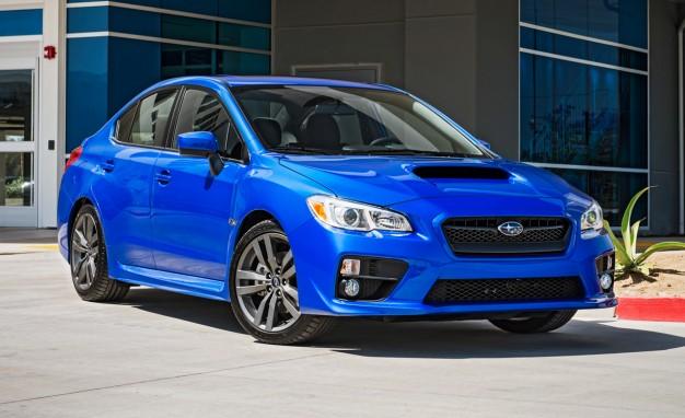 A blue Subaru WRX angular front view