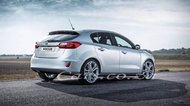 angular rear of the rendered Ford Focus 2018