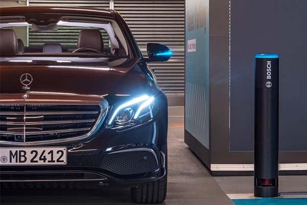 angular front of a black Mercedes car