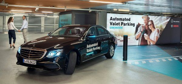 A mercedes car in the automated valet parking
