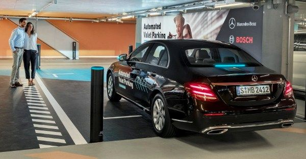 Mercedes-Benz car in the automated valet parking