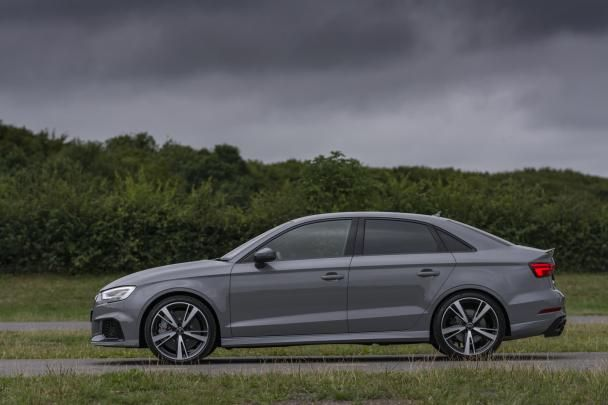 side view of the 2018 Audi RS3 sedan
