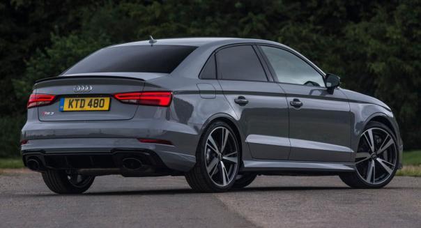 angular rear of the 2018 Audi RS3 sedan
