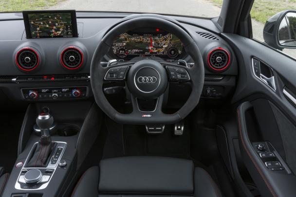 Interior of the 2018 Audi RS3 sedan