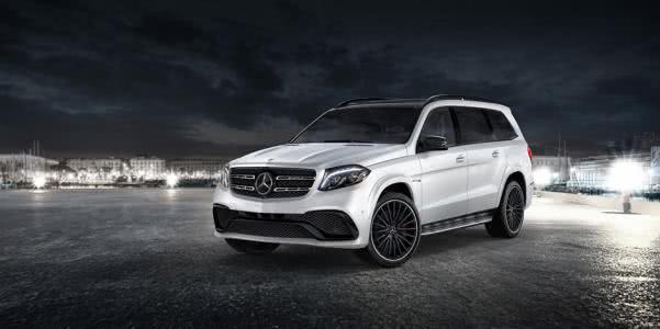 angular front of a white Mercedes-Benz GLS