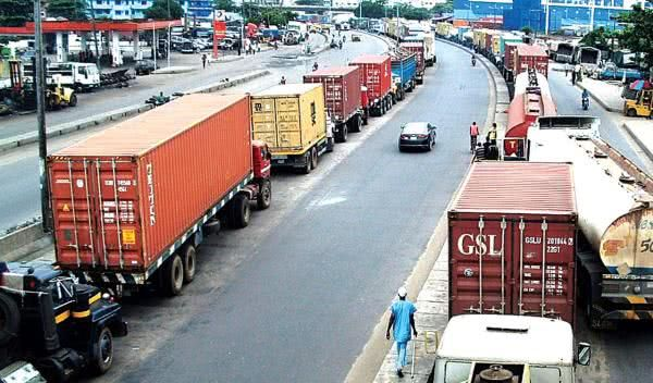 long line of trucks on the roads of Nigeria