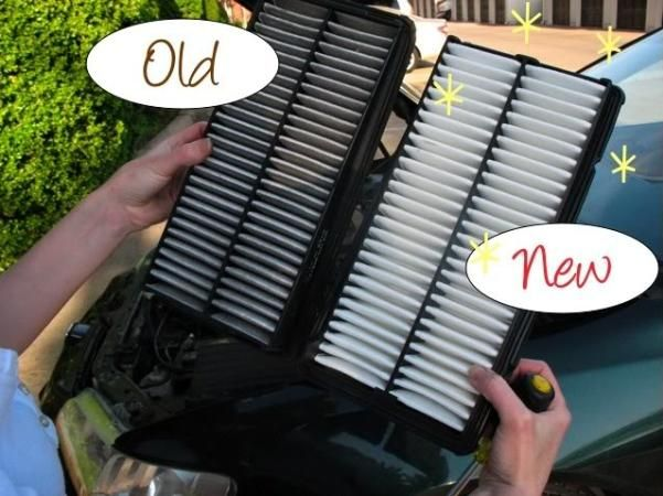 old and new air filters