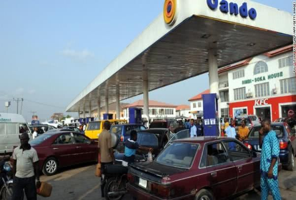 People at petrol station in Nigeria
