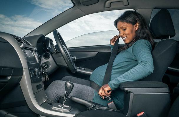 A female is wearing seat belt