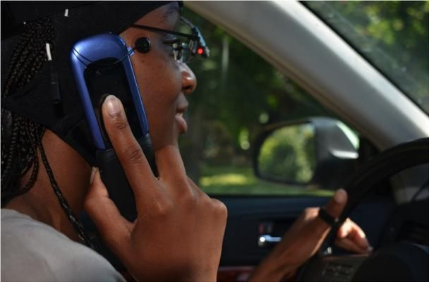 A driver is talking when driving