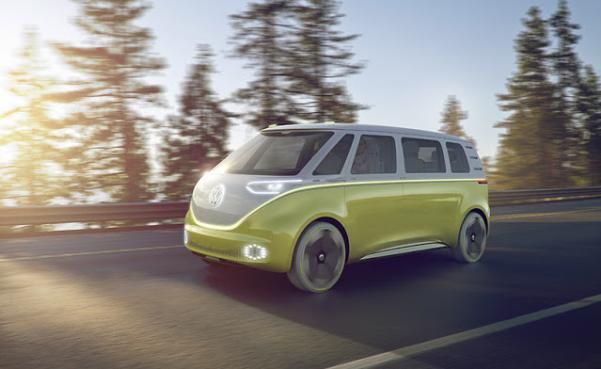 The Volkswagen I.D. BUZZ on the road