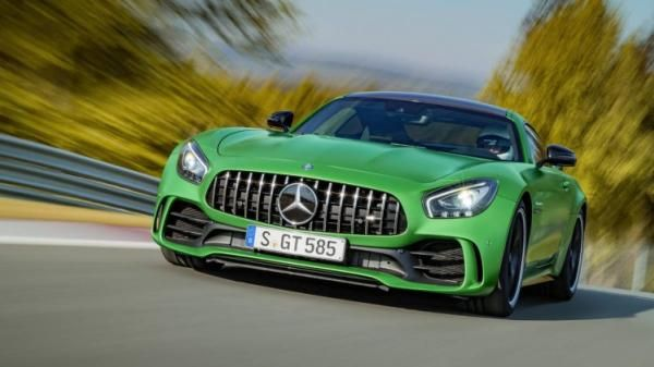 Angular front of a 2018 Mercedes AMG GT-R