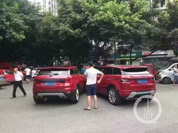 Range Rover Evoque and Lanwind X7 accident