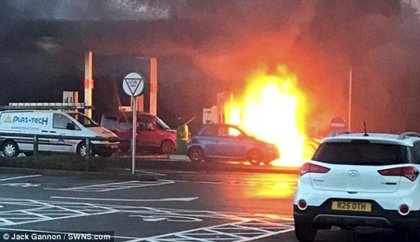 An explosion at gas station