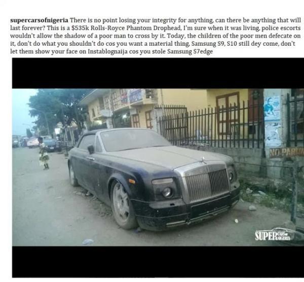 A Rolls Royce Phantom forlorn to rot in Lagos