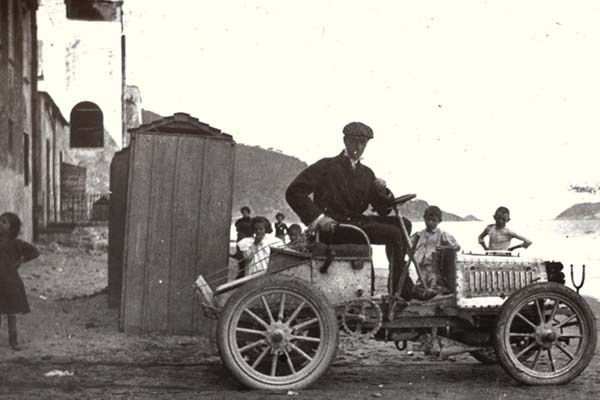 A man sits in 1901 Bugatti Type 2