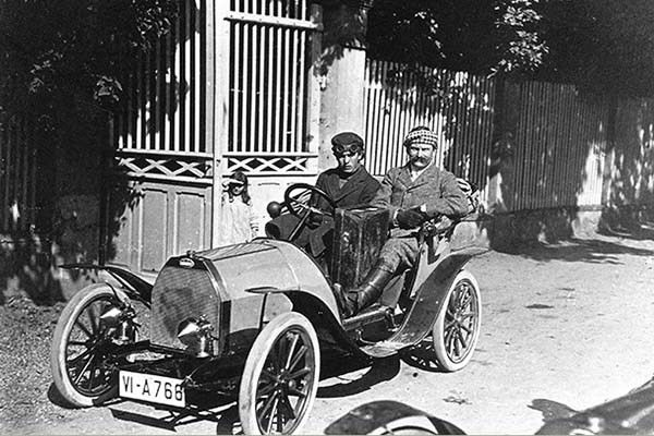 two man drives 1910 Bugatti Type 10
