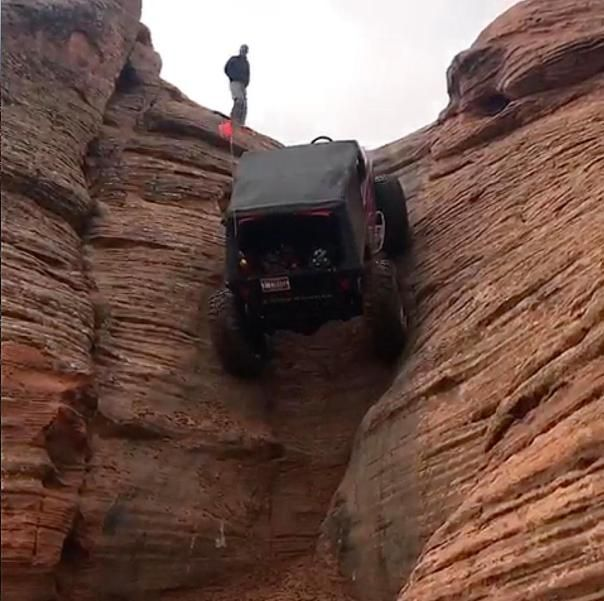 The Jeep reaches the top safely