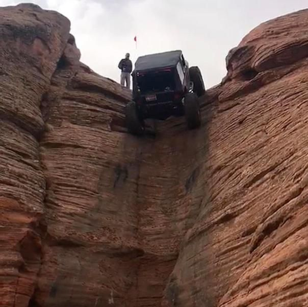 A Jeep is climbing up