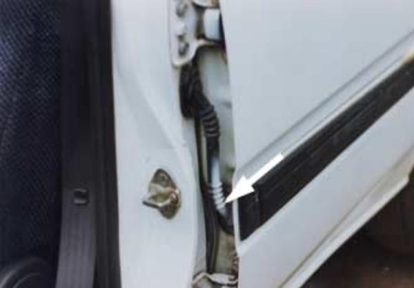 The plastic trim of the car door