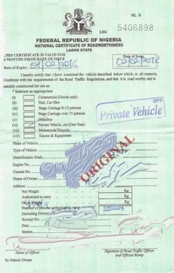 Certificate of Road Worthiness