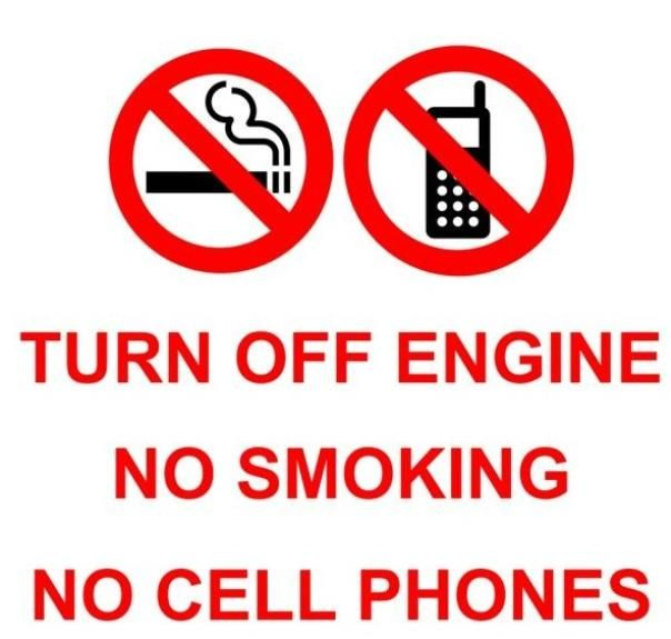 signs at gas stations warning against cell phone use