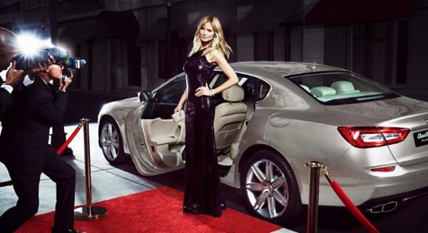 A Maserati and a model