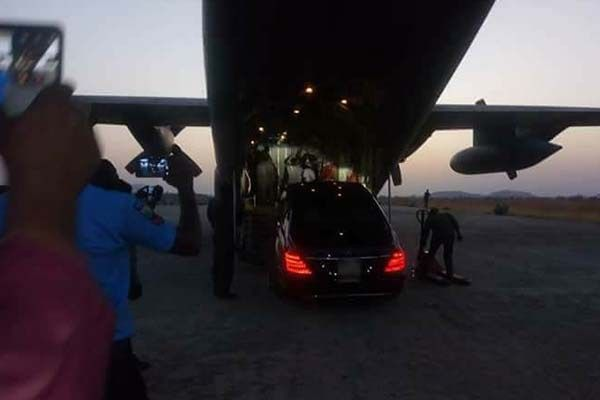 The Mercedes Benz S-Class was loaded onto a NAF C130 plane
