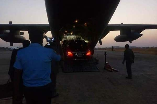 Mercedes Benz S-Class was loaded onto a plane named NAF C130