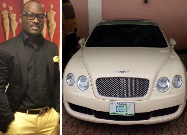 "Dayo Adeneye stands by his car with the pricey personalized number plate ""DEE-1"""