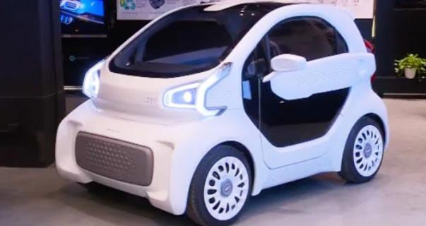a 3D-printed car