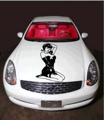 An auto hood sticker - sexy cabaret girl