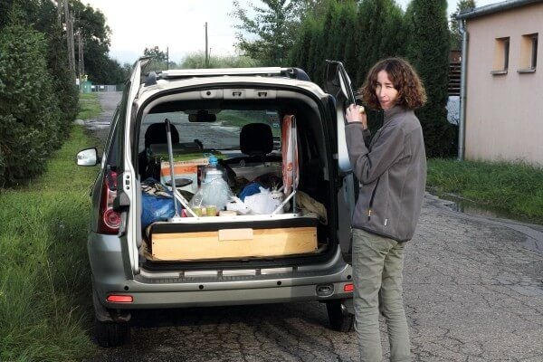 an overloaded car