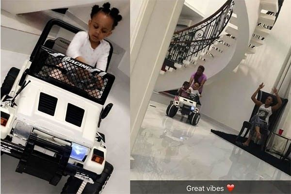 Davido's daughter, Imade Adeleke drives a miniature Jeep Wrangler