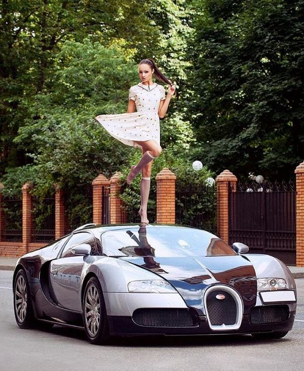 Bugatti Veyron and a girl