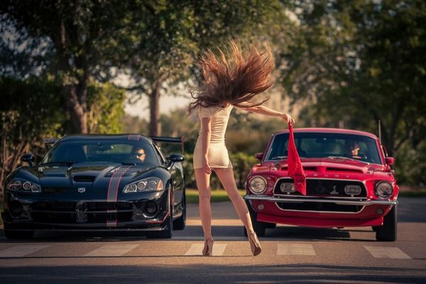 Dodge Viper models and a girl