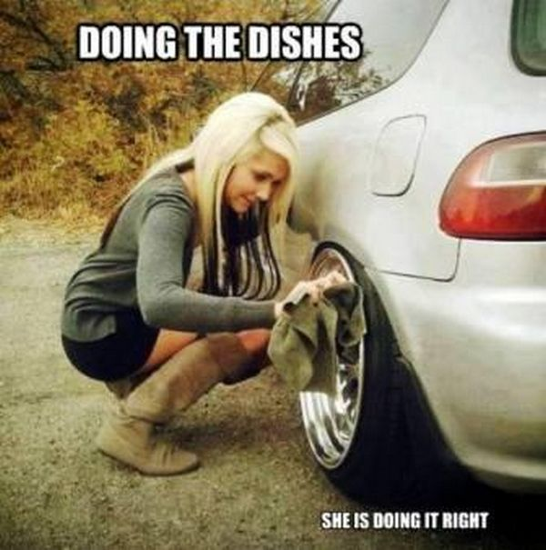 Doing the dishes car meme