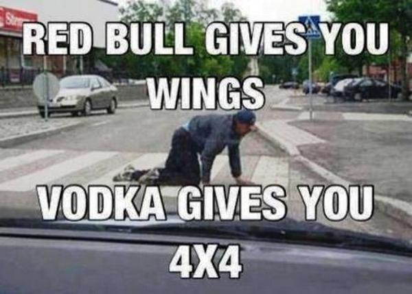Vodka gives you 4x4 car meme