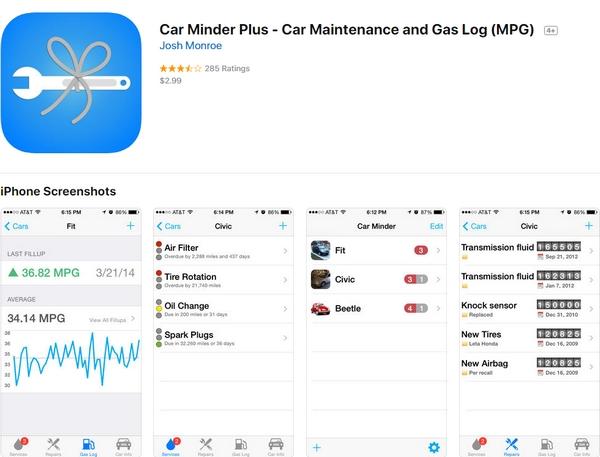 Car Minder Plus app