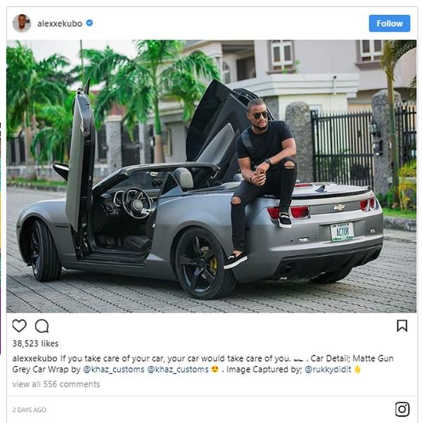 Alex Ekubo and his Chevrolet Camaro Convertible