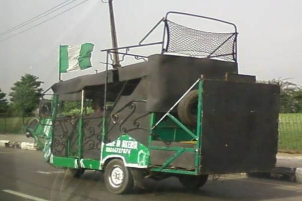 A truck with Nigerian colours all over its body