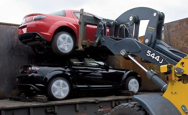 A car being lifted