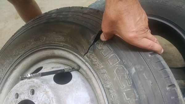 A cracked tyre
