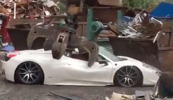 Zahid Khan's Ferrari being crushed