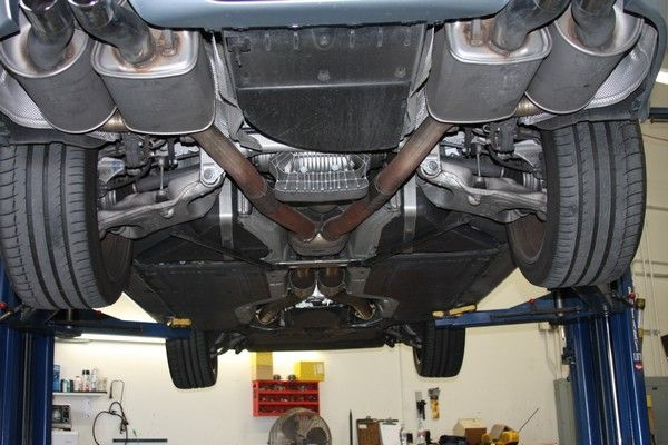 The undercarriage of a car