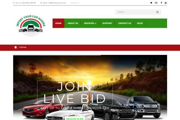 The website of Import Your Car Nigeria