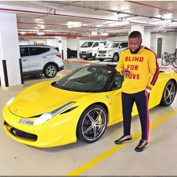 Hushpuppi and his Ferrari