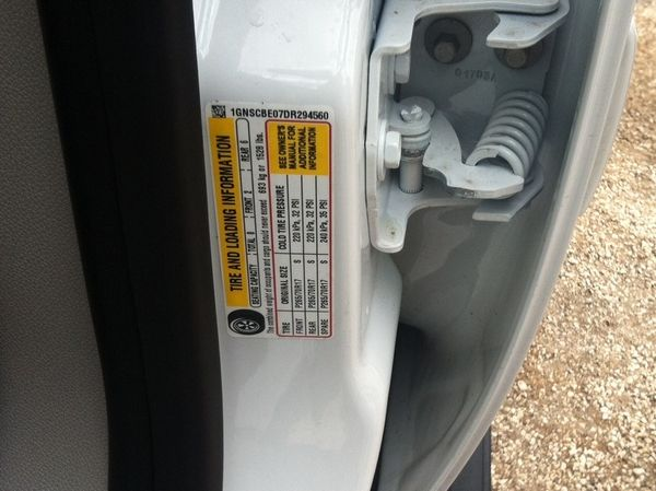 sticker of car specs alongside the car door