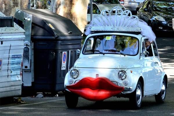 An unusual wedding vehicle