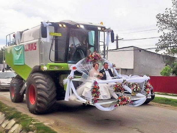 An unusual wedding vehicle